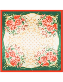 Fashion Green Four Flowers Decorated Square Shape Scarf