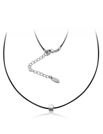 Fashion Silver Color Oval Shape Decorated Simple Necklace