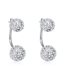 Fashion Silver Color Round Ball Decorated Pure Color Earrings