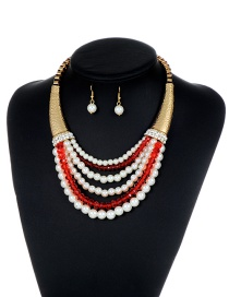 Fashion Red Pearls Decorated Multi-layer Jewelry Sets