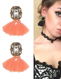 Fashion Dark pink Diamond&tassel Decorated Simple Earrings