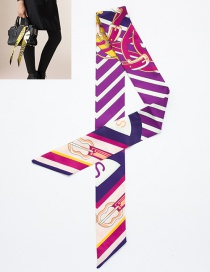 Fashion Purple Guitar Pattern Decorated Simple Scarf