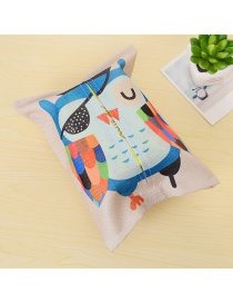 Fashion Multi-color Owl Pattern Decorated Color Matching Simple Tissue Box