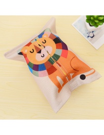 Fashion Multi-color Lion Pattern Decorated Color Matching Simple Tissue Box