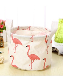 Trendy White Flamingo Pattern Decorated Pure Color Storage Box