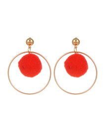 Fashion Red Pompom Ball Decorated Pure Color Simple Earrings
