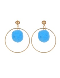 Fashion Blue Pompom Ball Decorated Pure Color Simple Earrings