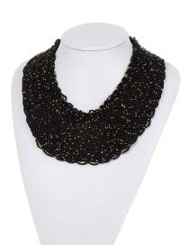 Fashion Black+gold Color Bead Decorated Weave Pure Color Simple Necklace