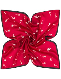 Trendy Red Flower Pattern Decorated Pure Color Simple Scarf
