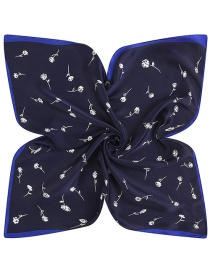 Trendy Navy Flower Pattern Decorated Pure Color Simple Scarf