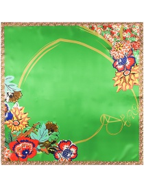 Trendy Multi-color Flower&heart Pattern Decorated Color Matching Scarf
