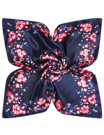 Trendy Navy Flower Pattern Decorated Square Shape Simple Scarf