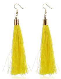 Elegant Yellow Tassel Deocrated Pure Color Simple Earrings