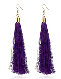 Elegant Purple Tassel Deocrated Pure Color Simple Earrings
