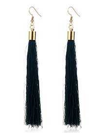 Elegant Green Tassel Deocrated Pure Color Simple Earrings