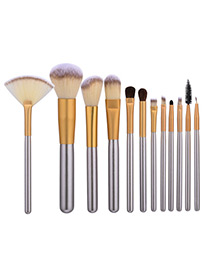 Fashion Champagne Geometry Decorated Color Matching Cosmetic Brush (12pcs)