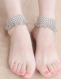 Trendy Ancient Silver Color Bells Decorated Hollow Out Pure Color Anklet