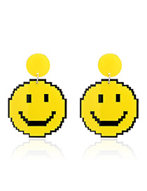 Fashion Yellow Smiling Face Pendant Decorated Earrings