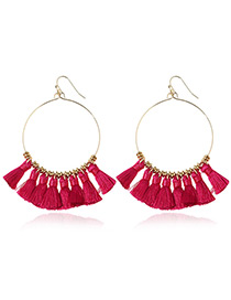 Bohemia Plum-red Tassle Decorated Round Earrings