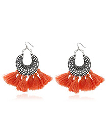 Bohemia Orange Tassel Decorated Hollow Out Earrings