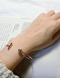 Fashion Gold Color Letter T Decorated Opening Bracelet