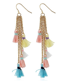 Bohemia Multi-color Tassel Decoreated Long Earrings