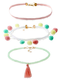 Fashion Multi-color Fuzzy Balls Decorated Color Matching Pom Necklace (3pcs)