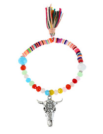 Fashion Multi-color Ox Head&tassel Decorated Color Matching Bracelet