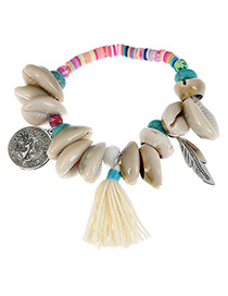 Fashion White Shell&leaf Decorated Color Matching Bracelet