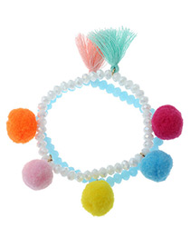 Fashion Multi-color Fuzzy Balls&tassel Decorated Color Matching Bracelet