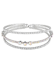 Fashion Silver Color Pearls&diamond Decorated Multi-layer Bracelet