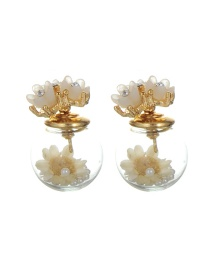 Elegant Yellow Flower Decorated Simple Earrings