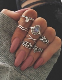 Fashion Silver Color Crown Shape Decorated Pure Color Simple Ring (7 Pcs)