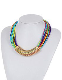 Fashion Multi-color Bead Decorated Multi-layer Color Matching Necklace