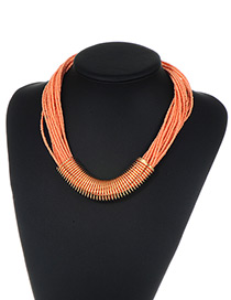 Fashion Orange Bead Decorated Multi-layer Pure Color Necklace