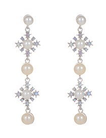 Fashion Silver Color Pearl&diamond Decorated Pure Color Earrings