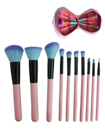 Lovely Pink Pure Color Decorated Cosmetic Brush (10pcs +cosmetic bag)