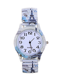 Fashion White Eiffel Tower Pattern Decorated Watch