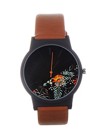 Fashion Brown+orange Flower Shape Pattern Decorated Watch