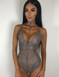 Vintage Gray Flower Decorated Hollow Out Sexy Lingerie