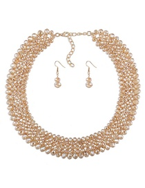 Luxury Champagne Round Shape Decorated Jewelry Sets