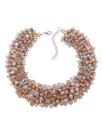 Exaggerate Champagne Round Shape Decorated Necklace