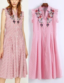 Fashion Pink Embroidered Fabric Decorated Simple Sleeveless Long Dress