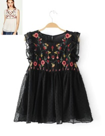 Elegant Black Embroidered Fabric Decorated Simple Sleeveless Shirt