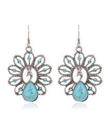 Fashion Blue Oval Gemstone Decorated Peacock Shape Earrings