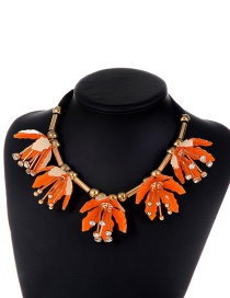 Exaggerate Orange Flower Shape Decorated Short Chain Necklace