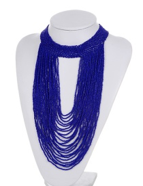 Exaggerate Royalblue Bead Decorated Pure Color Multilayer Necklace