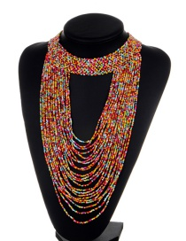 Exaggerate Multi-color Bead Decorated Pure Color Multilayer Necklace