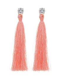Bohemia Orange Long Tassel Decorated Earrings