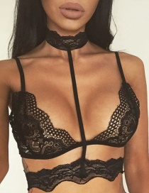 Sexy Black Choker Decorated Perspective Lingerie